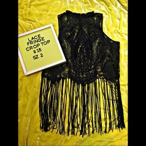Plus Size Lace Fringe Crop Top